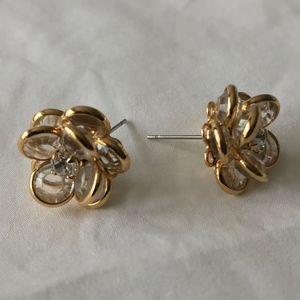 Faceted Crystal Flower Stud Earrings